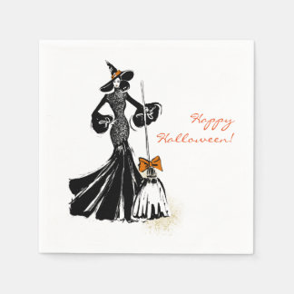 halloween illustration with black lace paper napkins