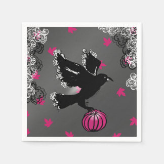 halloween Illustration with raven and pumpkin Disposable Napkin
