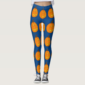 Halloween Jack o' Lantern Blue Leggings