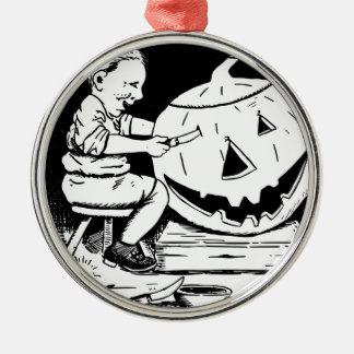 Halloween Jack-O-Lantern carving Silver-Colored Round Ornament