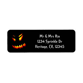 Halloween Jack-O-Lantern Face Address Label