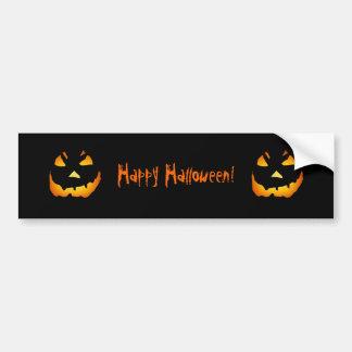 Halloween: Jack-o-Lantern Face: Car Bumper Sticker