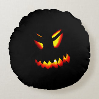 Halloween Jack-O-Lantern Face Pillow 2 Sided print Round Pillow
