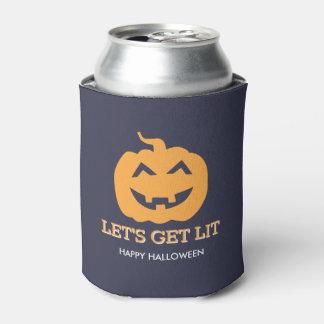 Halloween Jack O' Lantern Let's Get Lit Beer Can Cooler