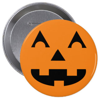 Halloween Jack O Lantern Pumpkin Face 4 Inch Round Button