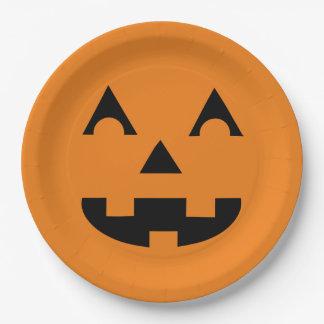 Halloween Jack O Lantern Pumpkin Face 9 Inch Paper Plate
