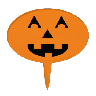 Halloween Jack O Lantern Pumpkin Face Cake Pick