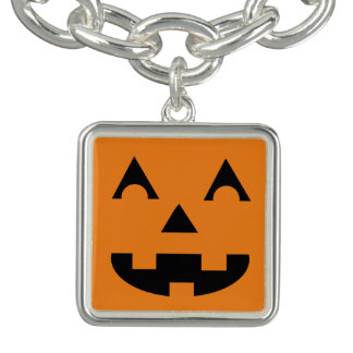 Halloween Jack O Lantern Pumpkin Face Charm Bracelet