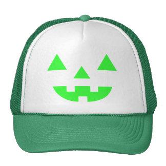 Halloween Jack O Lantern Pumpkin Face Green Trucker Hat