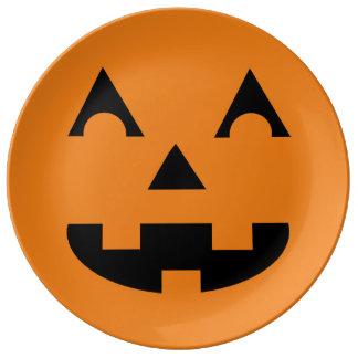 Halloween Jack O Lantern Pumpkin Face Porcelain Plate