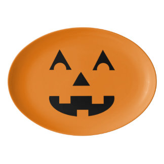 Halloween Jack O Lantern Pumpkin Face Porcelain Serving Platter