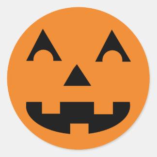 Halloween Jack O Lantern Pumpkin Face Round Sticker