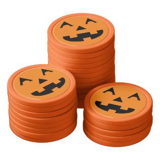 Halloween Jack O Lantern Pumpkin Face Set Of Poker Chips