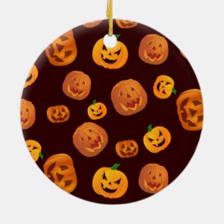 Halloween Jack-O-Lantern Pumpkin Pattern Ceramic Ornament