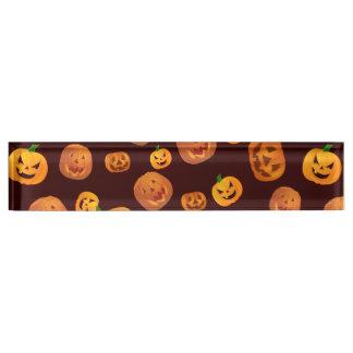 Halloween Jack-O-Lantern Pumpkin Pattern Name Plate