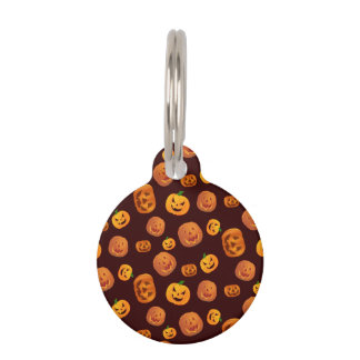 Halloween Jack-O-Lantern Pumpkin Pattern Pet ID Tag