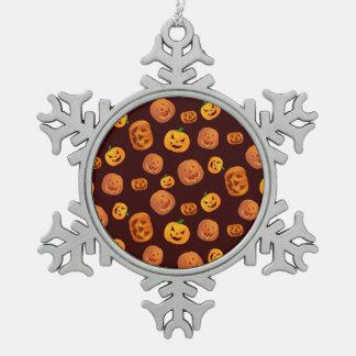 Halloween Jack-O-Lantern Pumpkin Pattern Snowflake Pewter Christmas Ornament