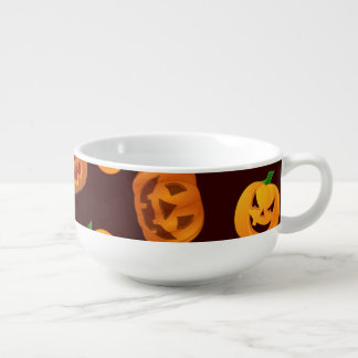 Halloween Jack-O-Lantern Pumpkin Pattern Soup Mug