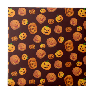 Halloween Jack-O-Lantern Pumpkin Pattern Tile