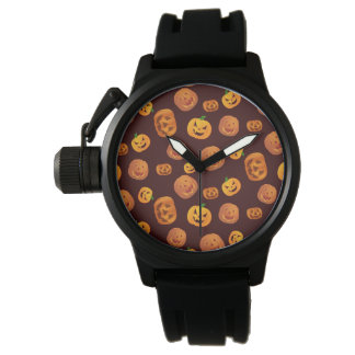 Halloween Jack-O-Lantern Pumpkin Pattern Watch