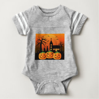 Halloween Jack O Lantern Pumpkins Illustration Baby Bodysuit