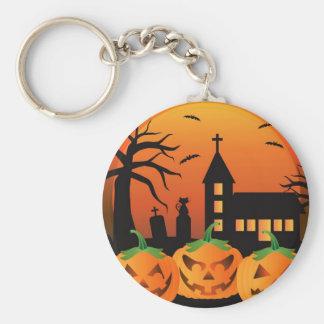 Halloween Jack O Lantern Pumpkins Illustration Keychain