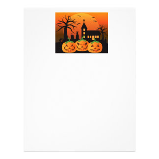 Halloween Jack O Lantern Pumpkins Illustration Letterhead