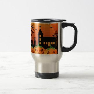 Halloween Jack O Lantern Pumpkins Illustration Travel Mug