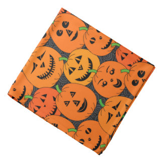 Halloween Jack-o'-lantern Pumpkins Pattern Bandana