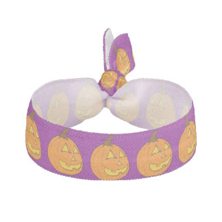 Halloween Jack o' Lantern Purple Hair Tie