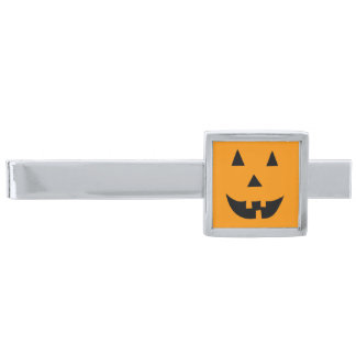 Halloween Jack O Lantern Silver Finish Tie Bar