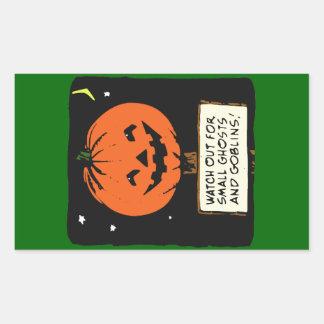 Halloween Jack-o -lantern Sticker Rectangulaire