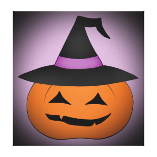 Halloween jack o lantern with witch hat stretched canvas prints