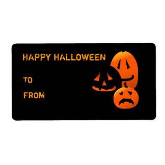 Halloween Jack-o-lanterns Happy Gift Label Shipping Label