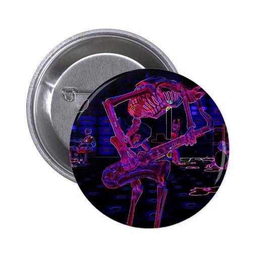 Halloween Jazz Saxophone Skeleton Musician Gifts Buttons