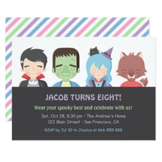 Halloween Kids Monster Birthday Party Invitations