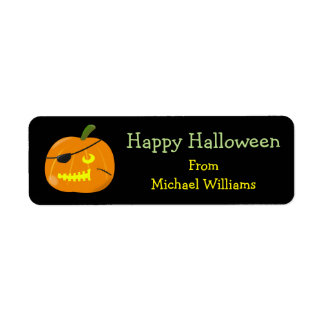 Halloween Kids Pirate Pumpkin Party Favor Gift Tag Return Address Label