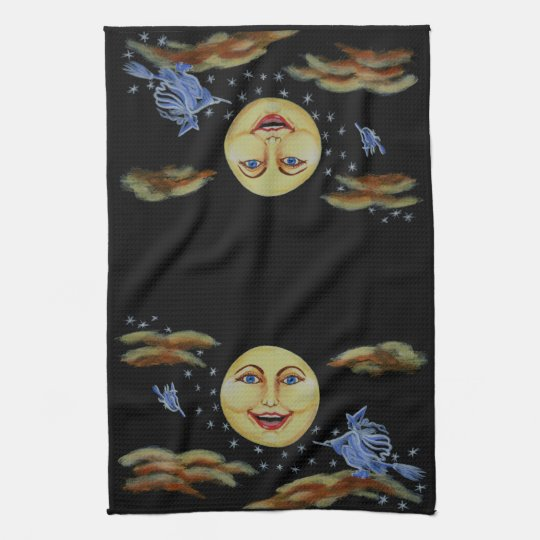 Halloween,kitchen,towel,moon,witches,stars Towels
