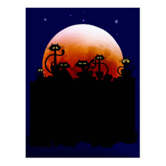 Halloween Kitties and Halloween Moon Postcard