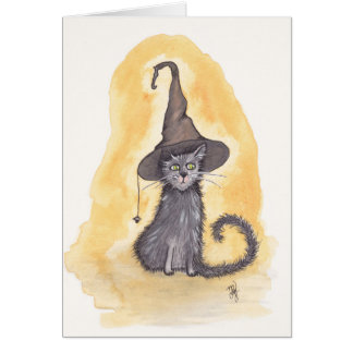 Halloween Kitty Witch Card