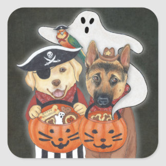 Halloween Lab, Shepherd, and Parrot in Costumes Square Sticker
