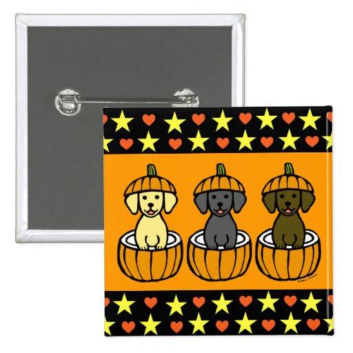 Halloween Labrador Puppies and Pumpkins Button