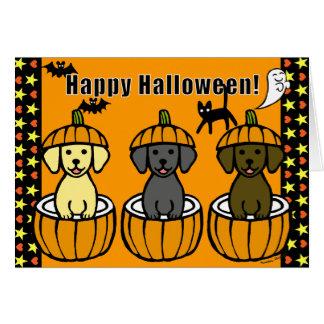 Halloween Labrador Puppies and Pumpkins Greeting Card