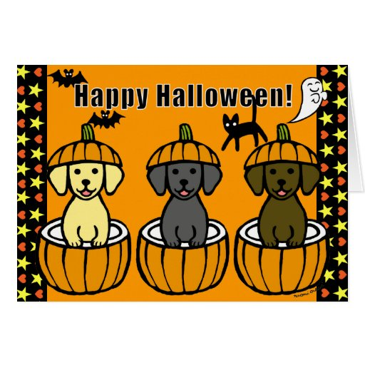 Halloween Labrador Puppies and Pumpkins Cards
