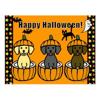 Halloween Labrador Puppies and Pumpkins Postcard