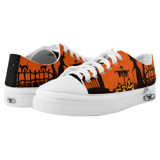 Halloween lace up low top sneakers