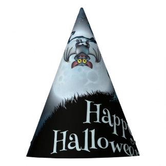 Halloween landscape bat hang on dead tree, moon party hat