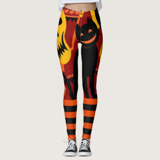 Halloween Leggings Black Cat Pumpkin Pants