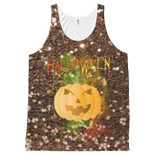 Halloween MagicDustPumpkin Faux BrownGlitter Tank