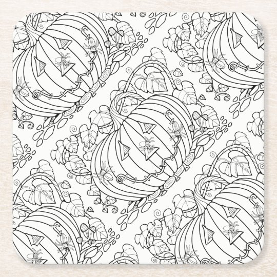 Halloween Masquerade Pumpkin Spider Lineart Design Square Paper Coaster